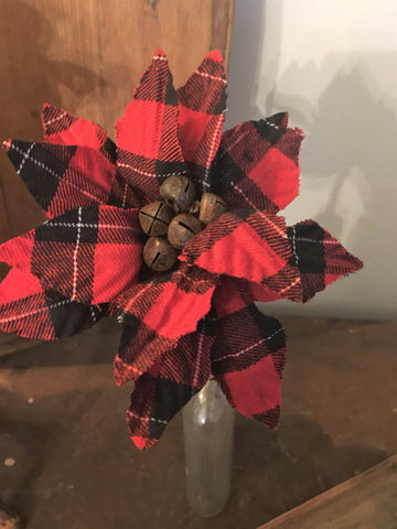 Floral- Mini Red Buffalo Check Poinsettia Stem - BELLAVINTAGEHOME