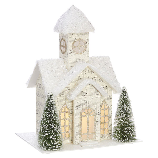 French Style-Lighted Music Paper Church - BELLAVINTAGEHOME