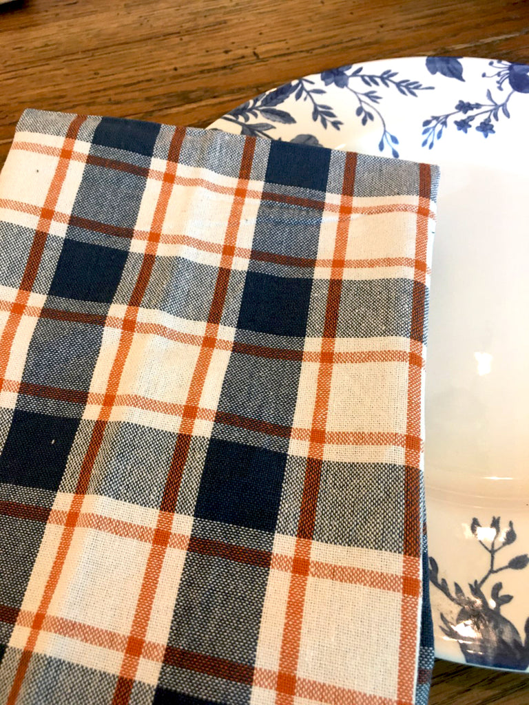 Blue and Orange Napkin Set of 4 - BELLAVINTAGEHOME