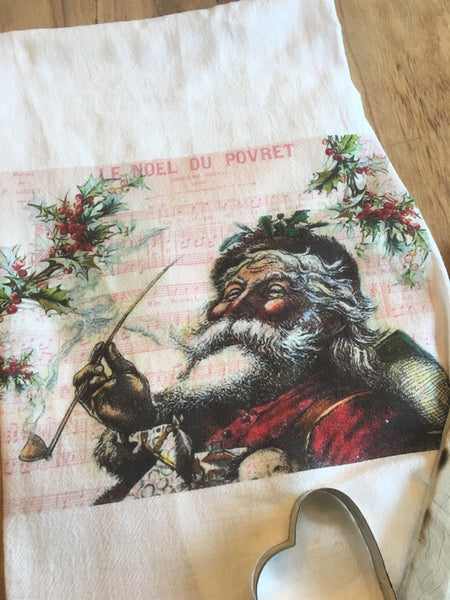 Tea Towel- Santa - BELLAVINTAGEHOME