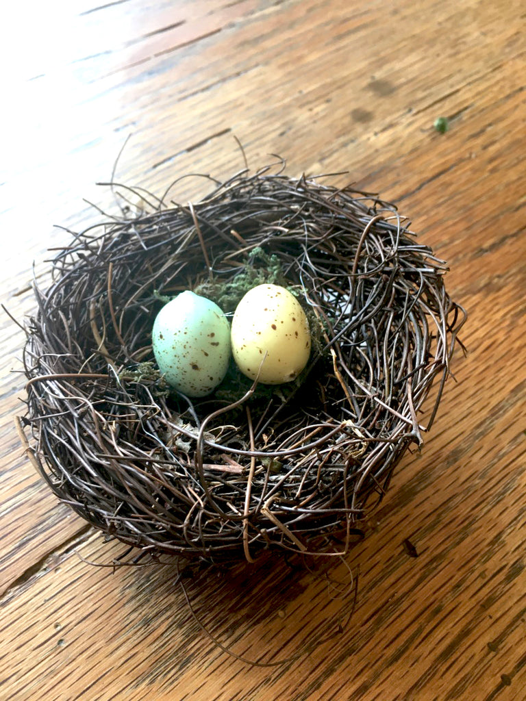 Nest with Eggs Set of 2 - BELLAVINTAGEHOME