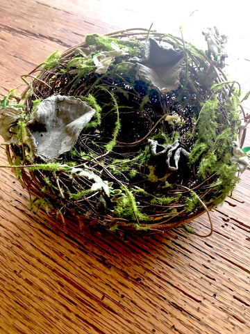 Mossy Nest with Leaves ( Additional Options with Eggs) - BELLAVINTAGEHOME