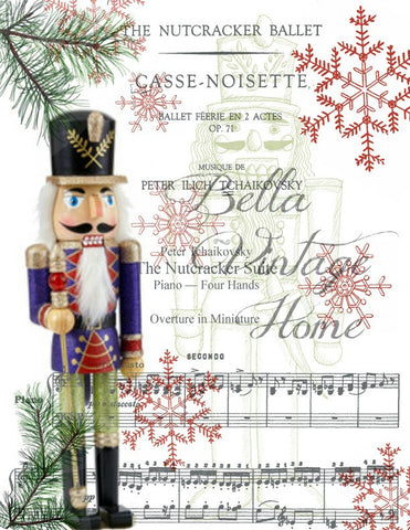 Paper  Christmas Nutcracker Print,  Pillow, Note Cards