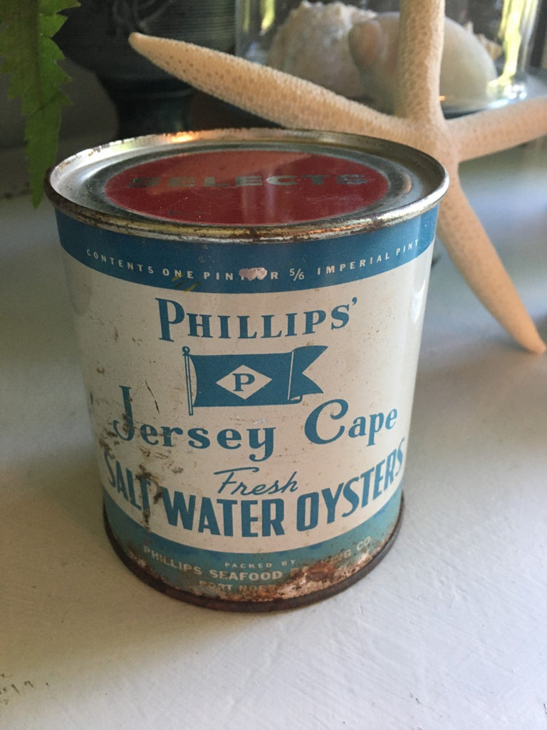 Vintage Phillips Jersey Cape Oyster Tin - BELLAVINTAGEHOME
