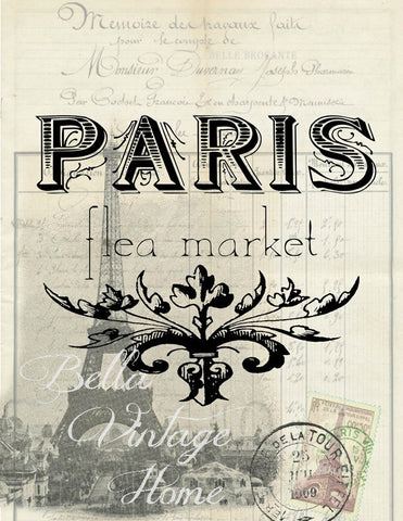 Paris Flea Market/ Effiel Tower Print,  Pillow, Note Cards, Tea Towel