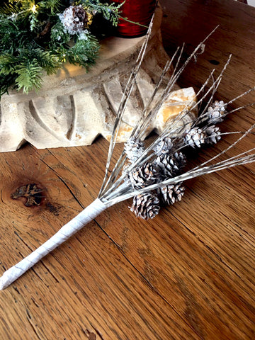 Floral-Birch and Pinecone Stems Set/2