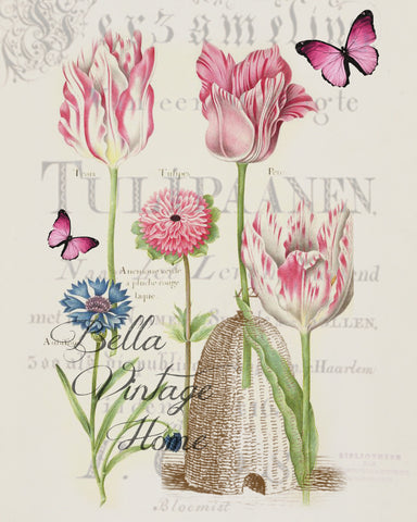 Botanical Pink Tulips Print, Pillow, Note Cards, Tea Towel