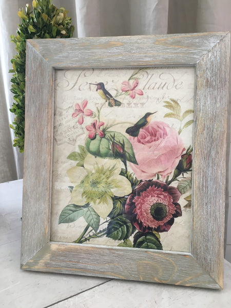 White washed Wood  Frame with Print ( More Options) - BELLAVINTAGEHOME