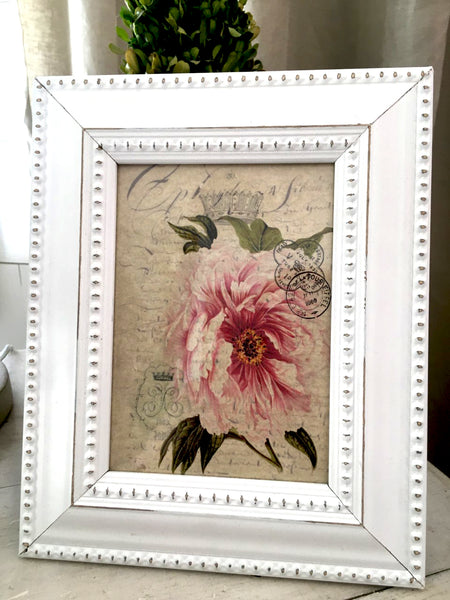 White  Beaded  wood Frame with Print (More Options) - BELLAVINTAGEHOME
