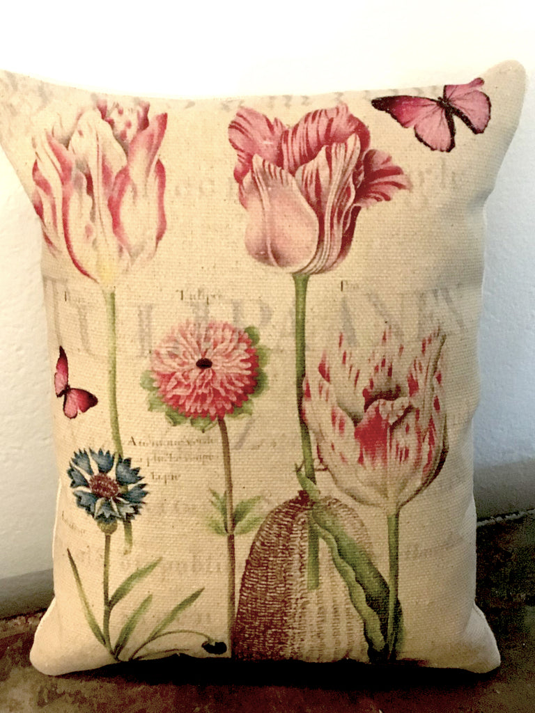 Pink Tulips  Accent Pillow - BELLAVINTAGEHOME