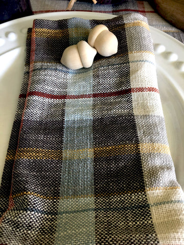 Muted Grey, Cream and Rust Plaid Napkins Set/ 4