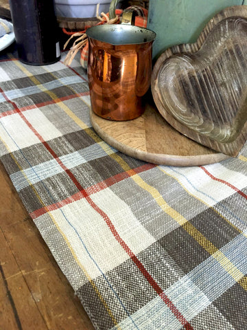 Muted Grey, Cream and Rust Plaid  Runner - BELLAVINTAGEHOME