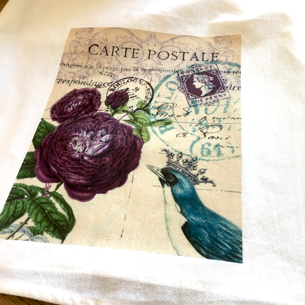 Floral Tea  Towel Purple Roses - BELLAVINTAGEHOME