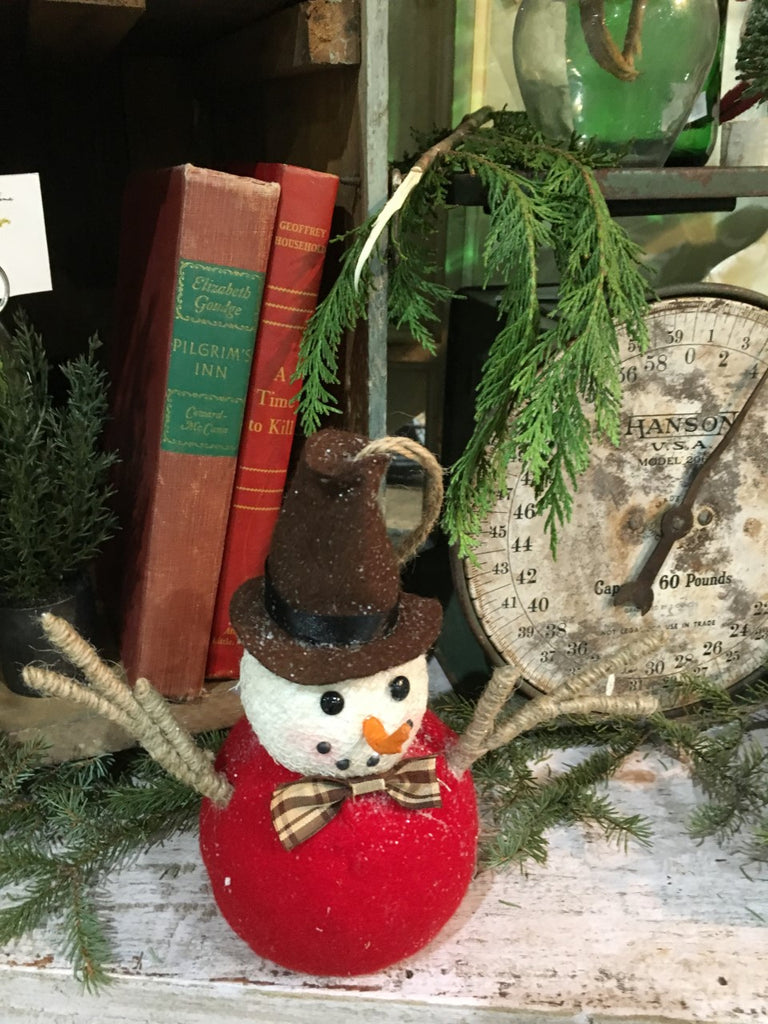 Woodland-Brown and Red Snowman - BELLAVINTAGEHOME