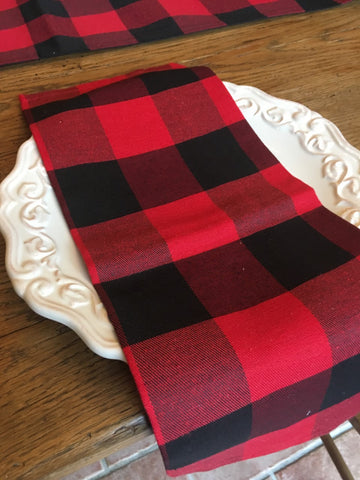 Red  Buffalo Check  Napkin - BELLAVINTAGEHOME