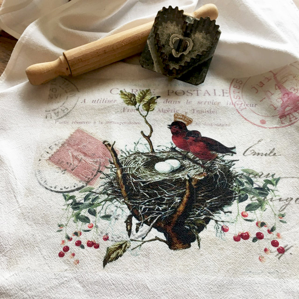 Tea Towel-Red Birds - BELLAVINTAGEHOME