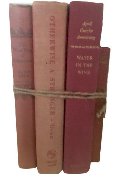 Vintage Book Stack (Shades of red/salmon) - BELLAVINTAGEHOME