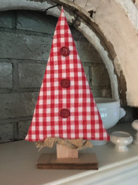 "Red Check Tabletop Tree 10"" - BELLAVINTAGEHOME"