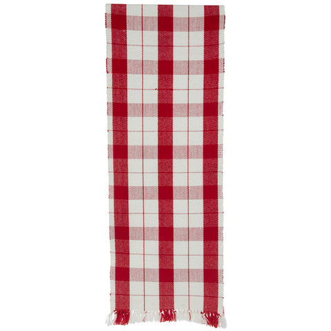 Red and White Buffalo Check  Table Runner - BELLAVINTAGEHOME
