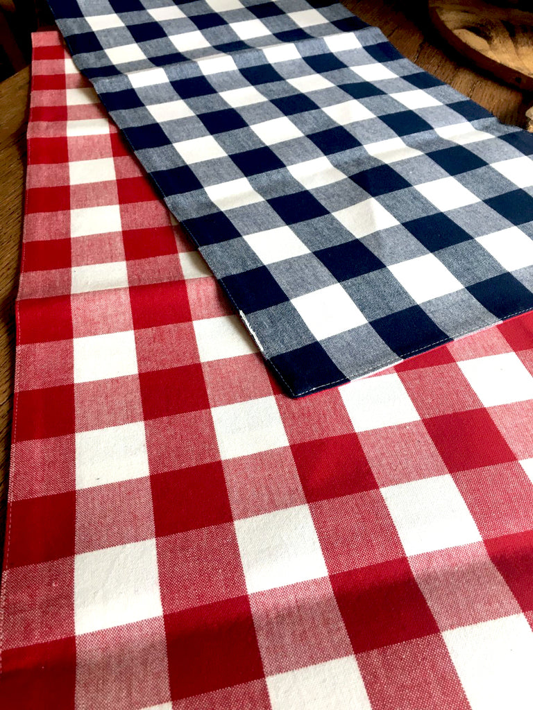 Reversible Red and Navy Buffalo Check Table Runner - BELLAVINTAGEHOME