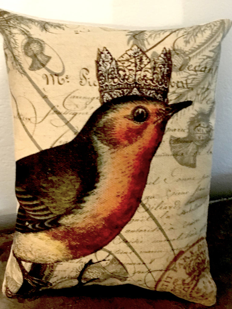 Robin with Crown  Accent Pillow - BELLAVINTAGEHOME
