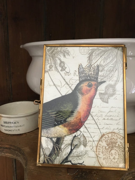 Brass and Glass  Frame with Print (More Options) - BELLAVINTAGEHOME