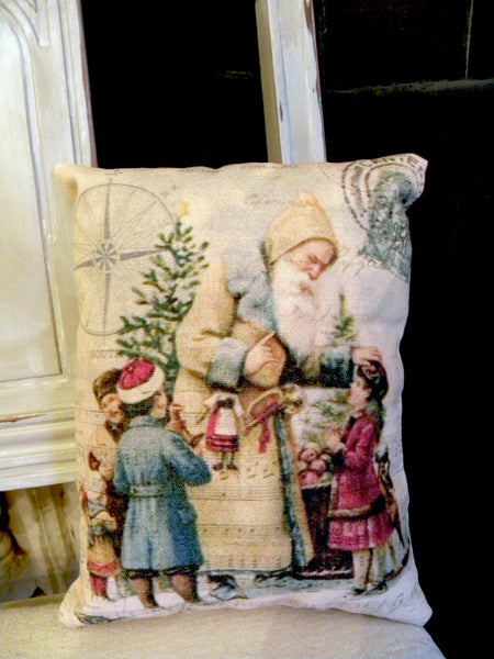 Paper  Christmas Santa with Children  Print,  Pillow, Note Cards