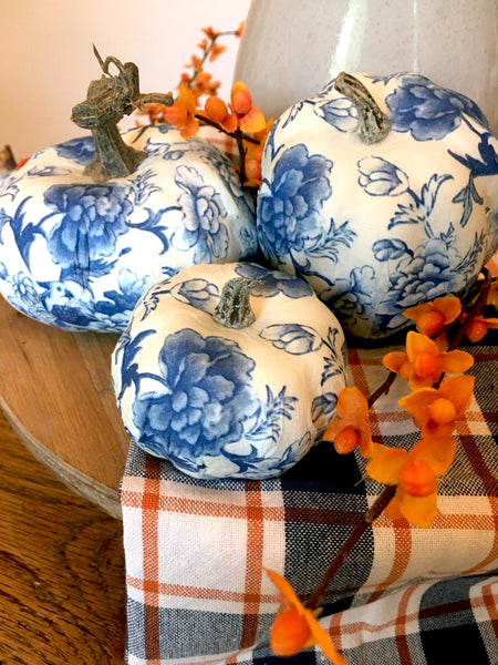 Assorted Chintz Pumpkins set of 3 - BELLAVINTAGEHOME