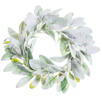 "Snowy Lamb's Ear  Wreath 12"" - BELLAVINTAGEHOME"