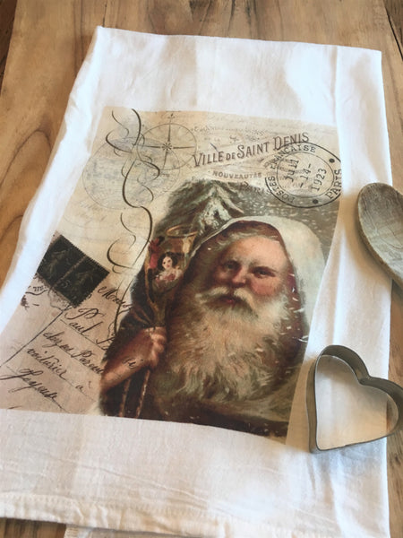 Tea Towel-Santa - BELLAVINTAGEHOME