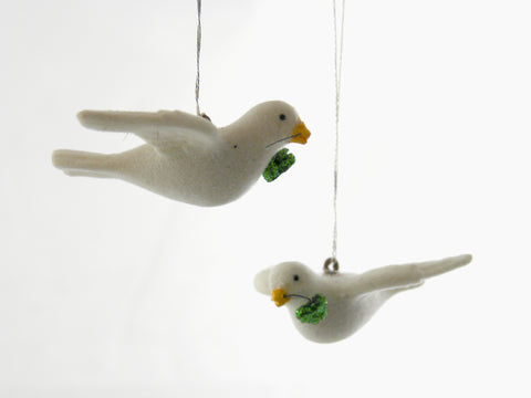 Flocked Dove Ornaments with shamrocks Set/3