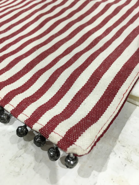 Red Stripe Table Runner with bells