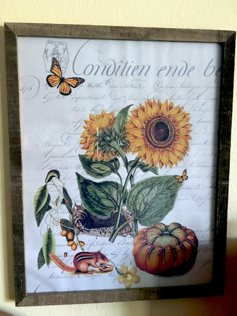 "Fall Harvest Frame 11"" x 14""  Sunflowers - BELLAVINTAGEHOME"