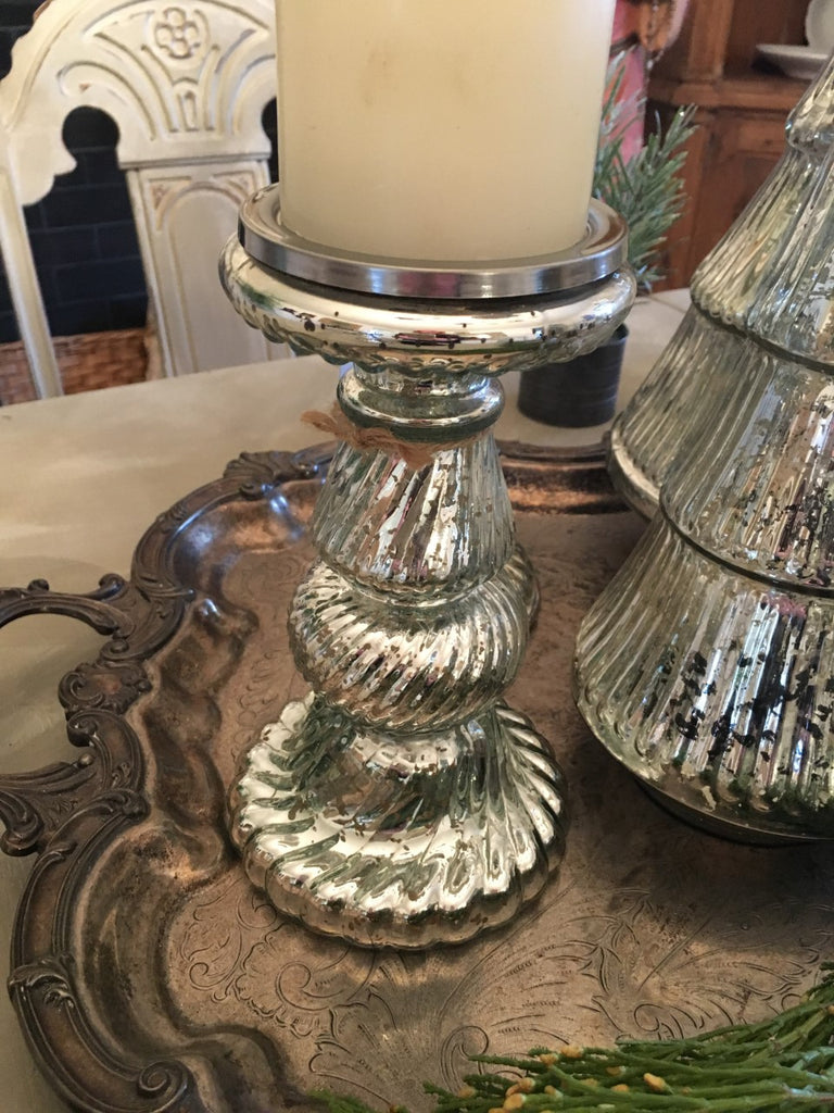 Mercury Glass Pillar Candleholder - BELLAVINTAGEHOME