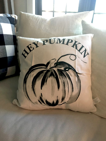 "Black and White Buffalo Check  ""Hey Pumpkin""  Pillow"
