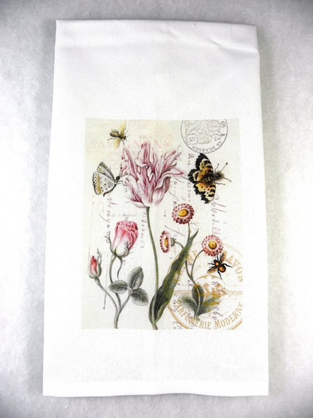 Insect Tea  Towel Tulips & Butterflies - BELLAVINTAGEHOME
