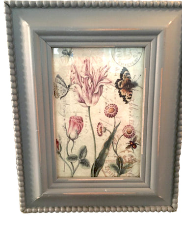 Grey Beaded  wood Frame with Print (More Options) - BELLAVINTAGEHOME