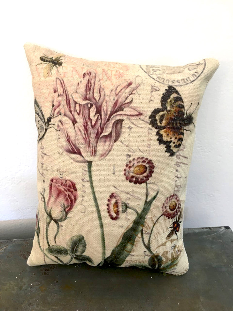 Tulips and Butterflies Accent Pillow - BELLAVINTAGEHOME