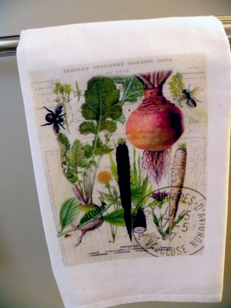Botanical  French Veggie Turnip Print,  Pillow, Note Cards, Tea Towel, Digital Down Load - BELLAVINTAGEHOME