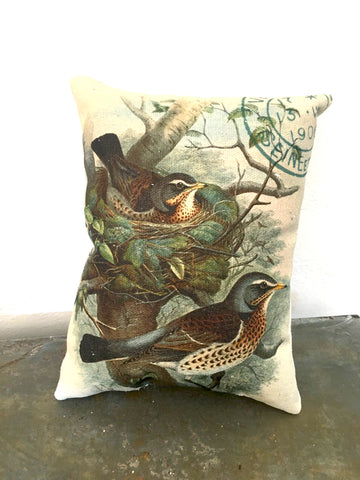 Birds with Nest Accent Pillow - BELLAVINTAGEHOME