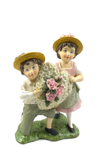 Vintage Valentine Boy & Girl with Heart