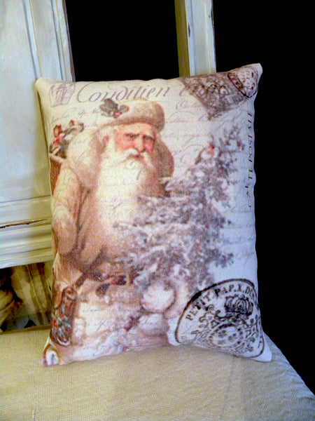 Vintage Art Collection Paper  Christmas Ivory Santa Print,  Pillow, Note Cards
