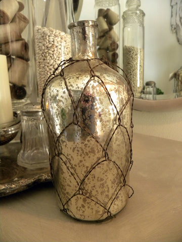 Mercury Glass Wire Covered  Bottle - BELLAVINTAGEHOME