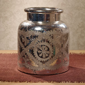 Mercury Glass Etched Jar - BELLAVINTAGEHOME