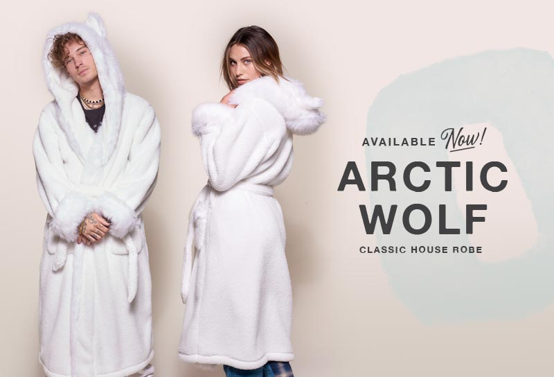 Male and Female models wearing white faux fur robe
