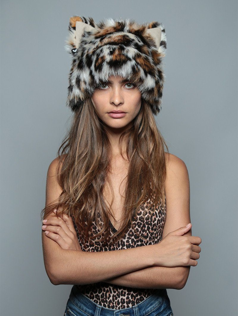 Mother Clouded Leopard Faux Fur SpiritHood - SpiritHoods