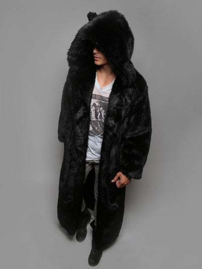 Classic Black Wolf Faux Fur Long Coat - SpiritHoods