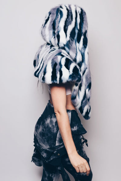 Limited Edition Winter Blue Jay Faux Fur Shawl - SpiritHoods