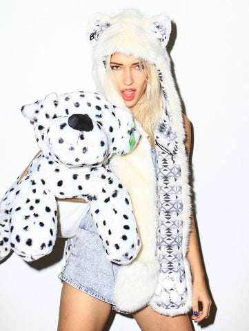 female model wearing Arctic Wolf FAUX FUR SpiritHood Animal Hat