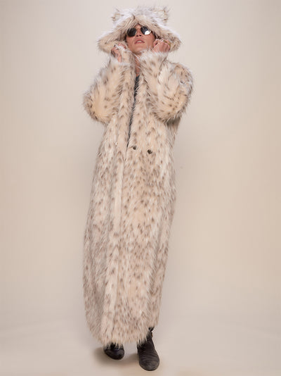 Classic Baby Snow Leopard Faux Fur Long Coat - SpiritHoods